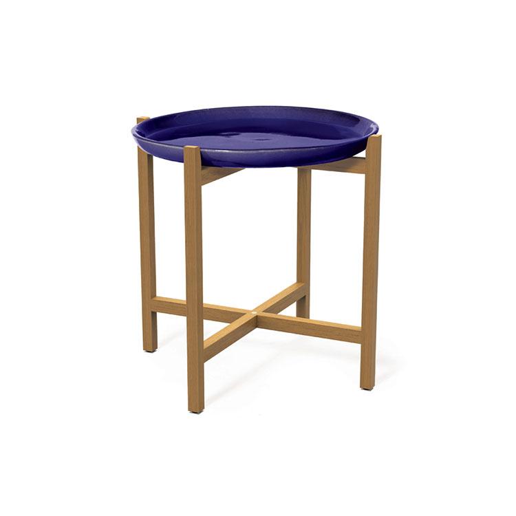 seasonal living ibis ceramic plate teak accent table navy blue doma home furnishings. Black Bedroom Furniture Sets. Home Design Ideas