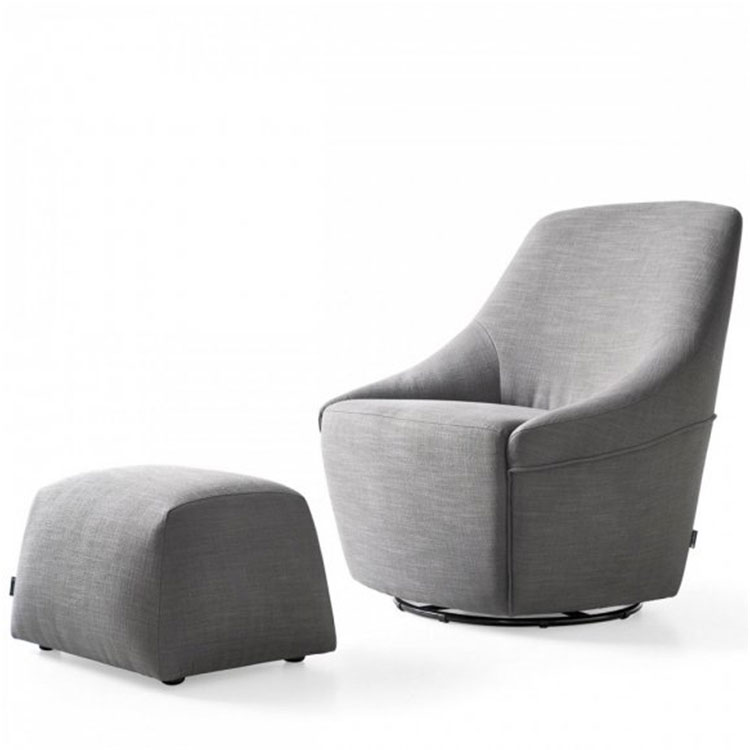 Calligaris Alma Swivel Chair & Ottoman Gray