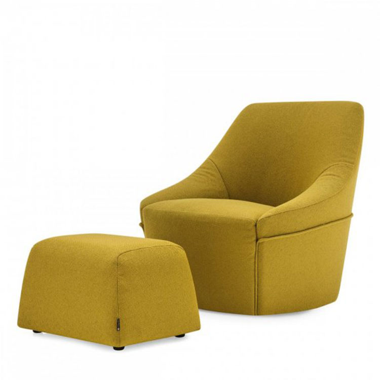 Calligaris Alma Swivel Chair & Ottoman Mustard