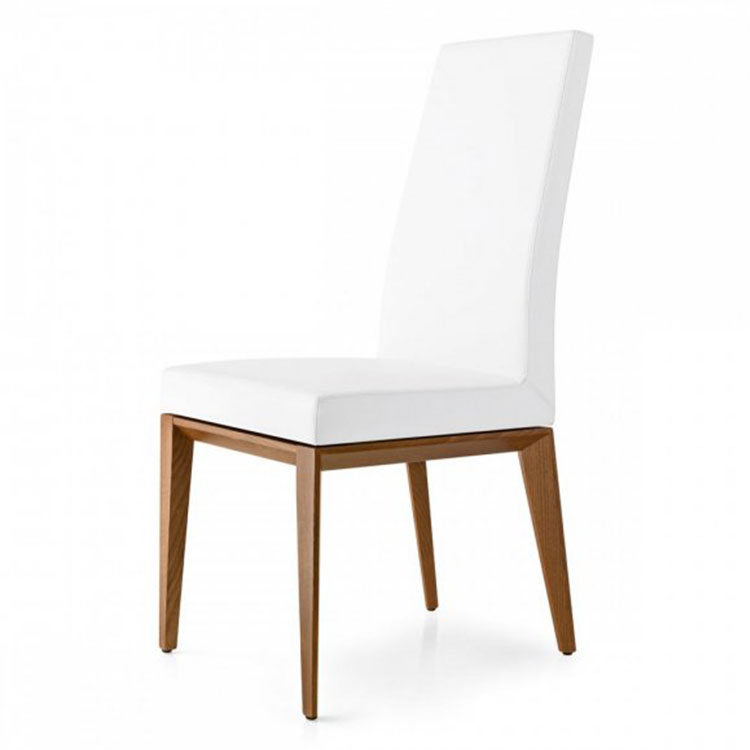 Calligaris Bess Highback Dining Chair Wood Legs/White Seat