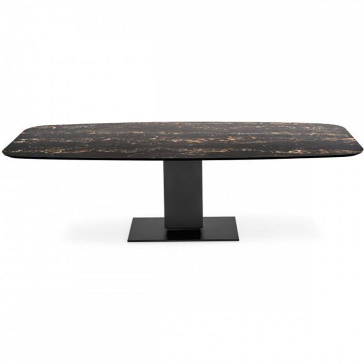 Calligaris Echo Modern Pedestal Base Table Dark Marble Top