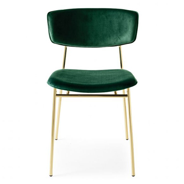 Calligaris Fifties Retro Dining Chair Gold/Green Velvet