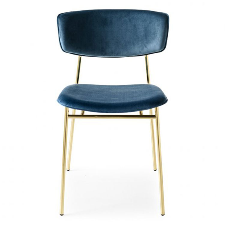 Calligaris Fifties Retro Dining Chair Gold/Blue Velvet