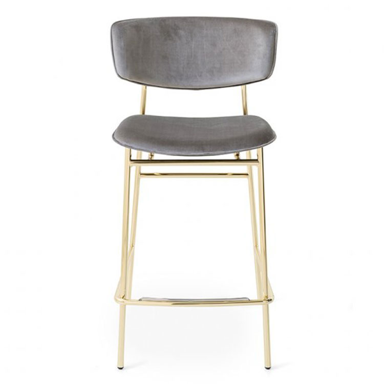 Calligaris Fifties Retro Stool Counter Height Gold/Gray Leather