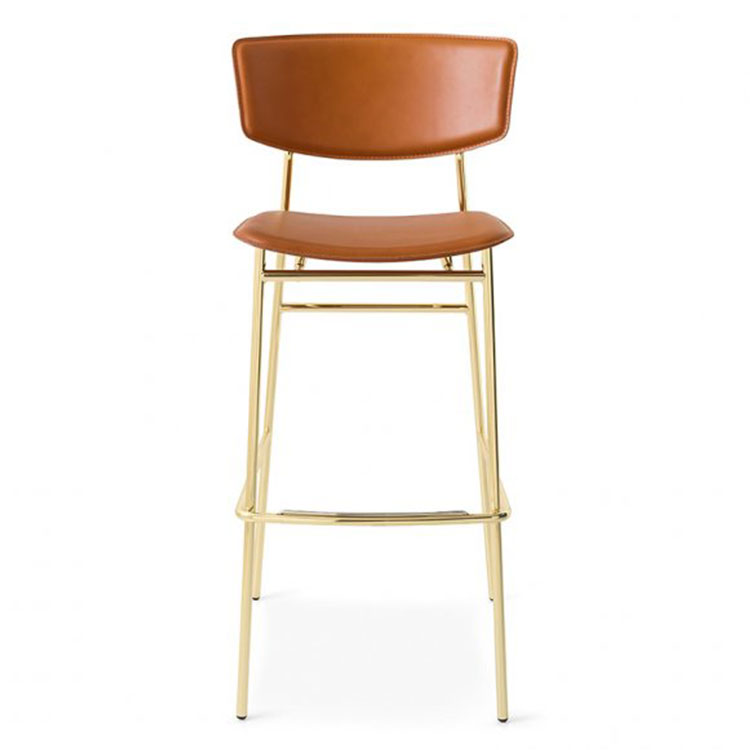 Calligaris Fifties Retro Stool Counter Height Gold/Tan Leather
