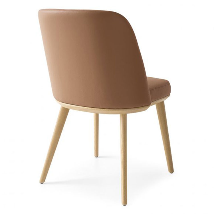 Calligaris Foyer Contemporary Dining Chair Tan Leather