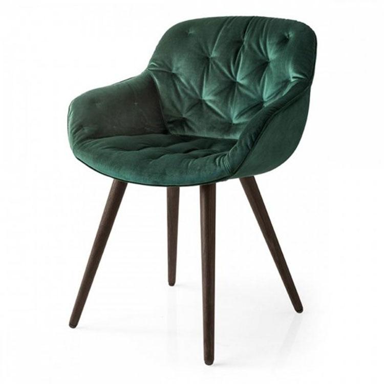 Calligaris Igloo Plush Dining Chair Hunter Green Side View