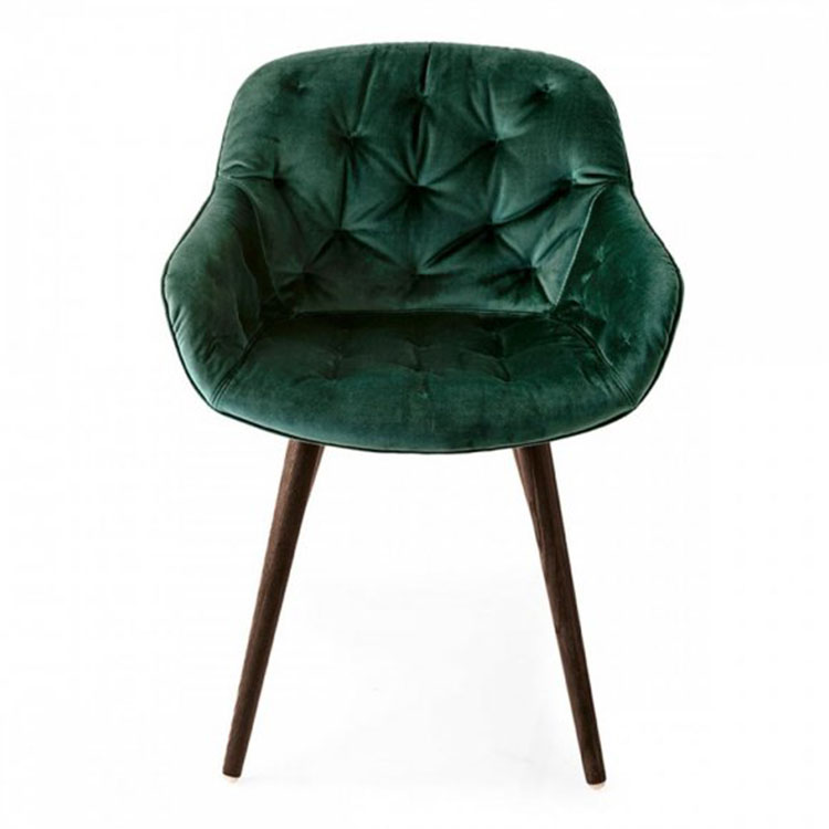 Calligaris Igloo Plush Dining Chair Hunter Green