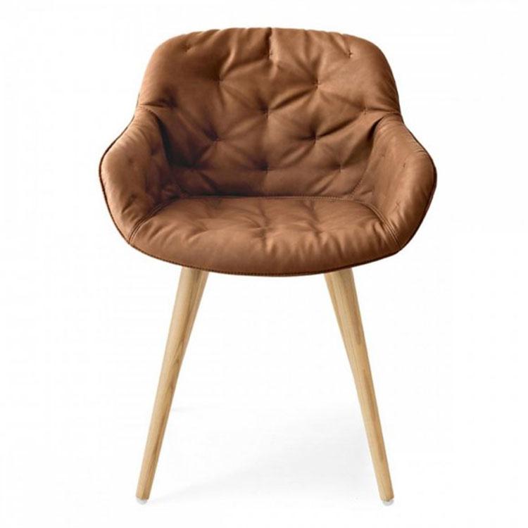 Calligaris Igloo Plush Dining Chair Natural Oak
