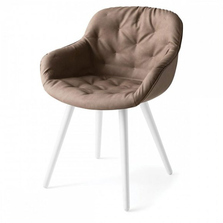 Calligaris Igloo Plush Dining Chair Tan/White