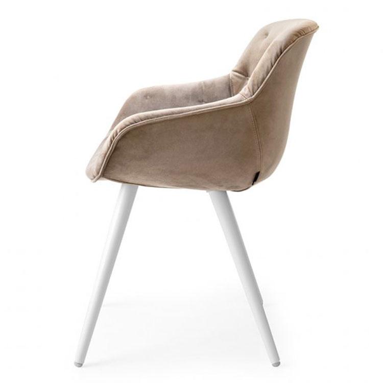 Calligaris Igloo Plush Dining Chair Taupe/White