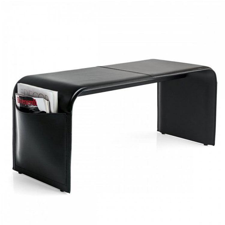 Calligaris Shape Leather Upholstered Bench Black Side View