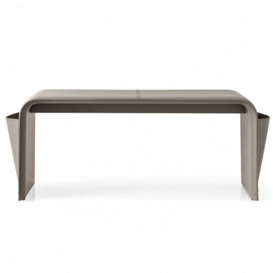 Calligaris Shape Leather Upholstered Bench Taupe