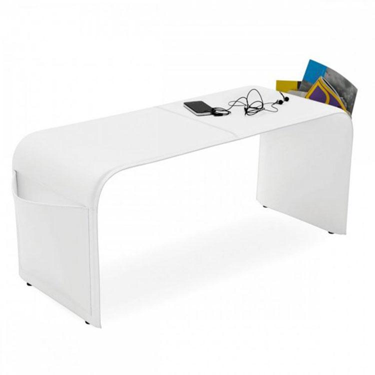 Calligaris Shape Leather Upholstered Bench White