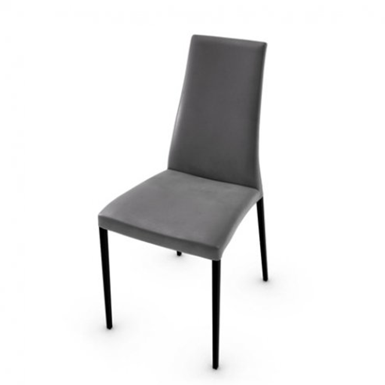 Calligaris Aida Soft Dining Chair Grey Leather