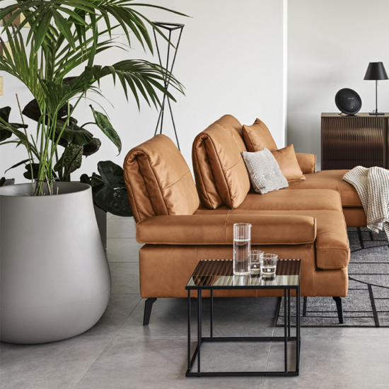 Calligaris Landa Sofa with Chaise in Cognac Leather with Black Metal Legs